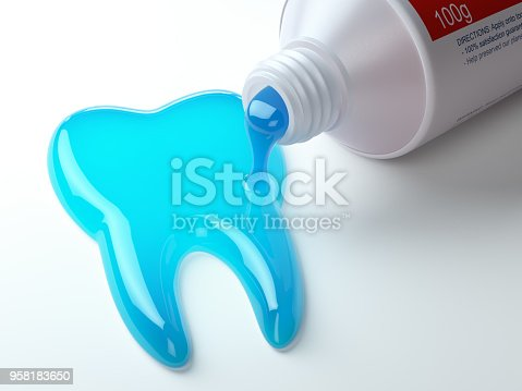 istock Toothpaste in the shape of tooth coming out from toothpaste tube. Brushing teeth dental concept. 958183650
