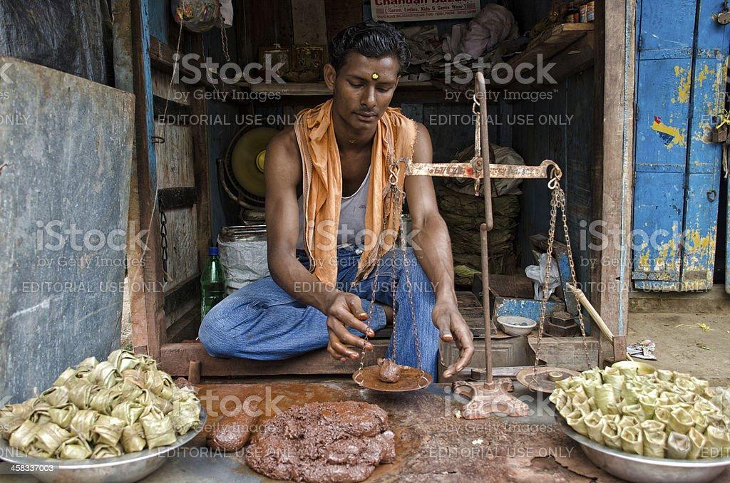 Toothpaste vendor in Puri, India royalty-free stock photo