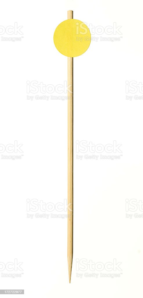 toothpick with yellow price tag/food marker stock photo
