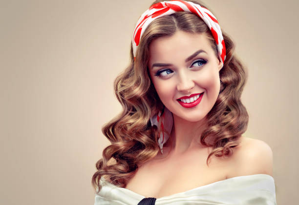 "toothy smile and polka dot kerchief on the head.""pin up"" style image. - pin up girl stock pictures, royalty-free photos & images"