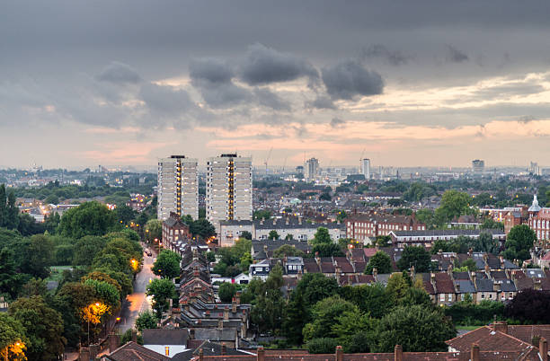 tooting cityscape - council flat stock photos and pictures