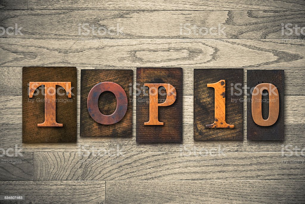 Top 10 Concept Wooden Letterpress Type stock photo