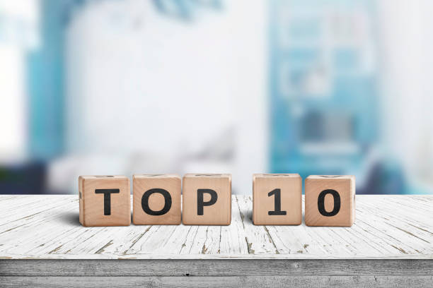 Top 10 sign made of wooden dices stock photo