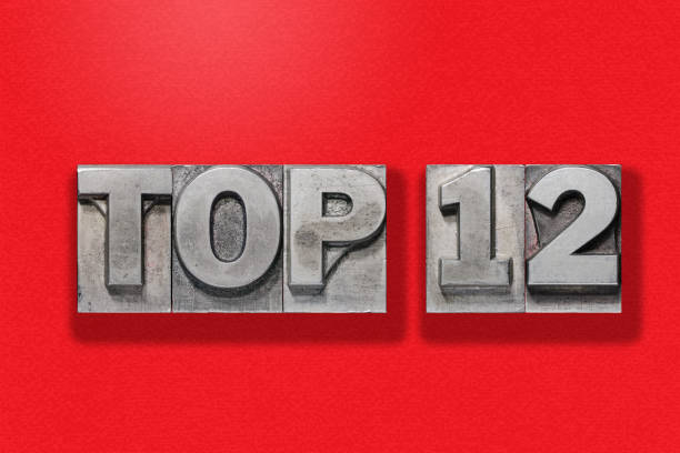 top 12 on red stock photo
