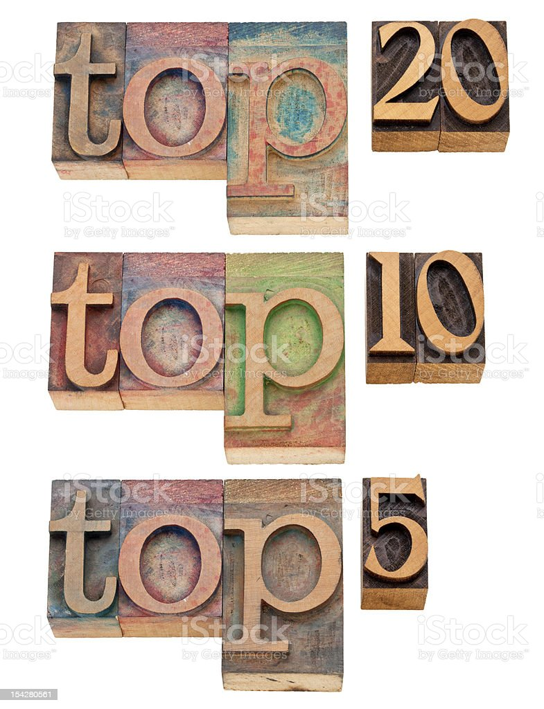 top 20, 10, 5 in letterpress type royalty-free stock photo