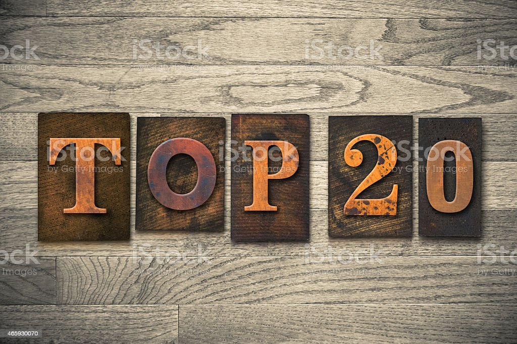 Top 20 Concept Wooden Letterpress Type stock photo