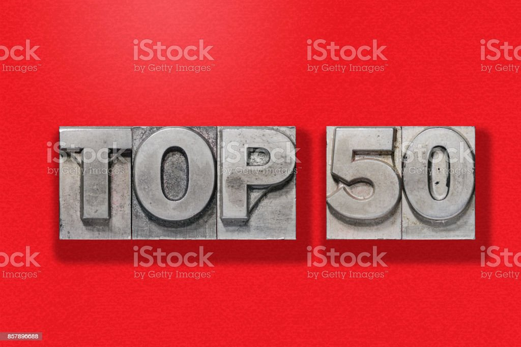 top 50 on red stock photo