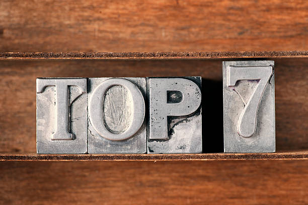 top 7 tray top 7 phrase made from metallic letterpress type on wooden tray number 7 stock pictures, royalty-free photos & images