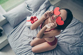 istock Top above high angle view portrait of funny girlish sweet winsom 1096916864