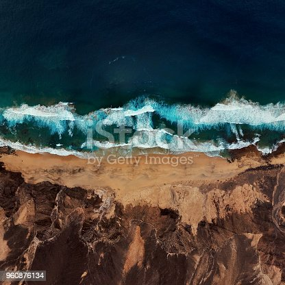 Flight over desert beach on Fuerteventura island, Spain