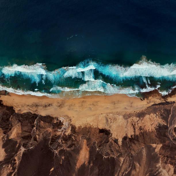 Top Luftaufnahme des einsamen Strand Playa de Barlovento, Halbinsel Jandia auf Fuerteventura, Kanarische Inseln, Spanien – Foto