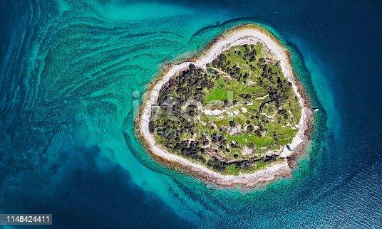 Overhead aerial panorama of desert island in Brijuni park, Croatia