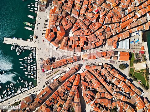 istock Top aerial view of old town Rovinj. Istria, Croatia. 953498084