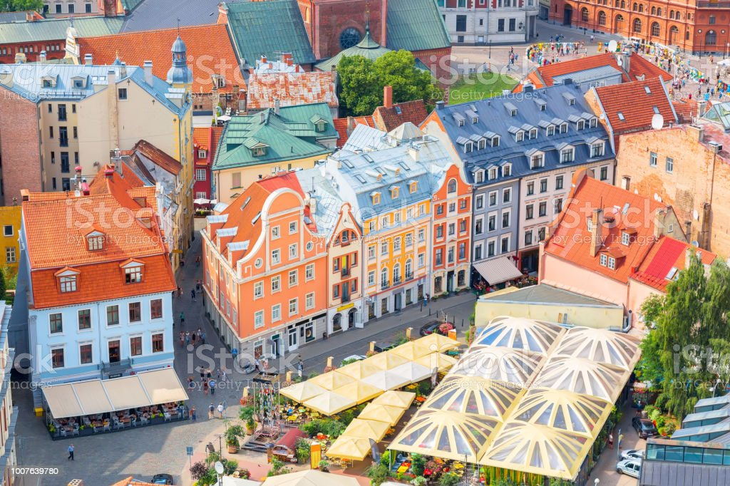 Top aerial view of the old town with beautiful colorful buildings in Riga, Latvia. Summer sunny day. European tourism concept. royalty-free stock photo