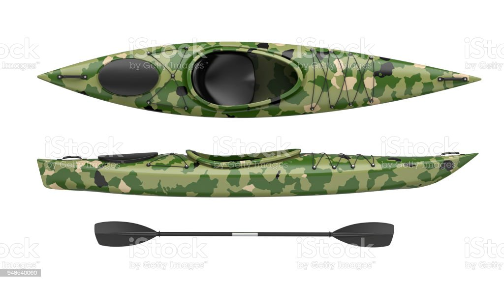 Top and side views of green crossover kayak. Whitewater and river running kayak. 3D render, isolated on white background. stock photo