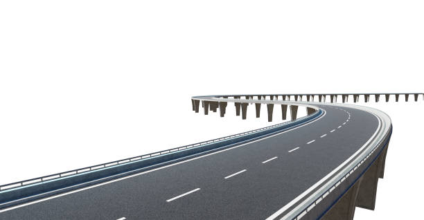 Top angle view of curve asphalt flyover stock photo