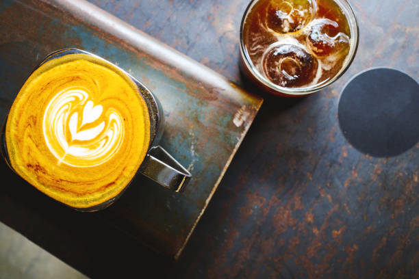 Top angle view of various coffee stock photo