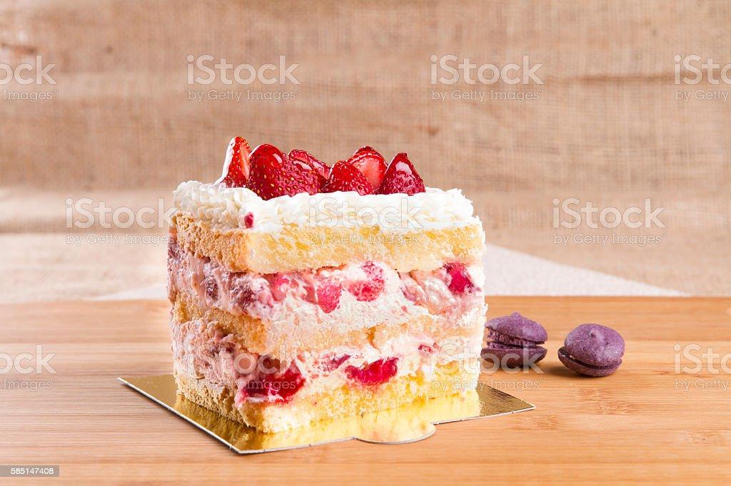Top Angle View Strawberry Cake Slice rectangle shape - fotografia de stock