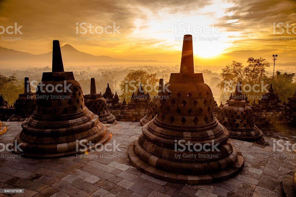 Top Borobudur Temple, Yogyakarta, Java stock photo