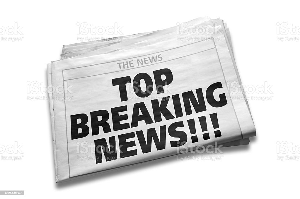 Top Breaking News Headline on first page in newspaper, isolated royalty-free stock photo