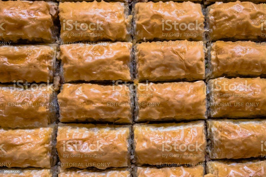 Nauwe gedetailleerde bovenaanzicht van Turkse dessert genaamd baklava - Royalty-free Baklava Stockfoto