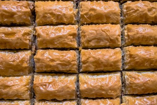 Nauwe Gedetailleerde Bovenaanzicht Van Turkse Dessert Genaamd Baklava Stockfoto en meer beelden van Baklava