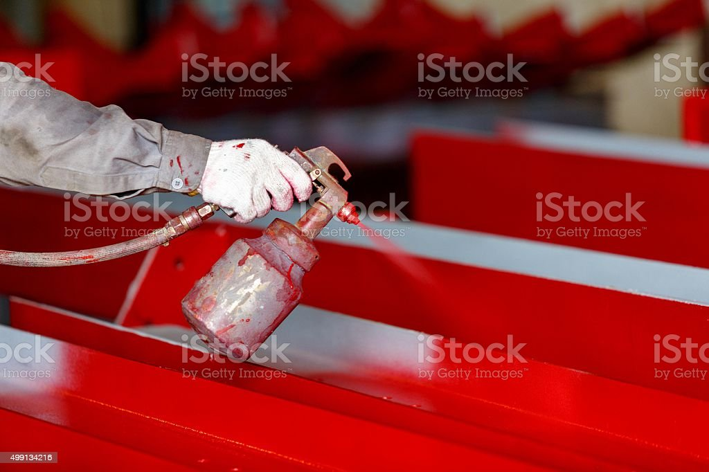 Top coat painting for finishing work piece stock photo