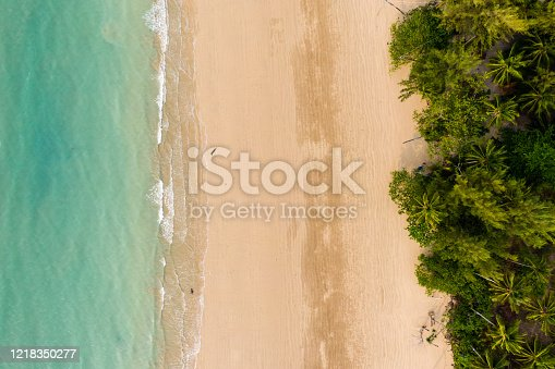 Top down aerial view of a deserted tropical beach in Thailand during the Coronavirus outbreak