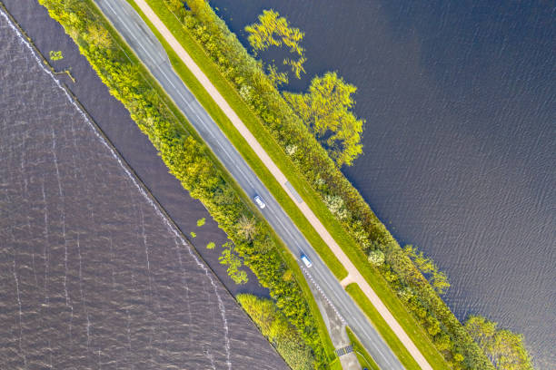 Top down Aerial view of Causeway stock photo