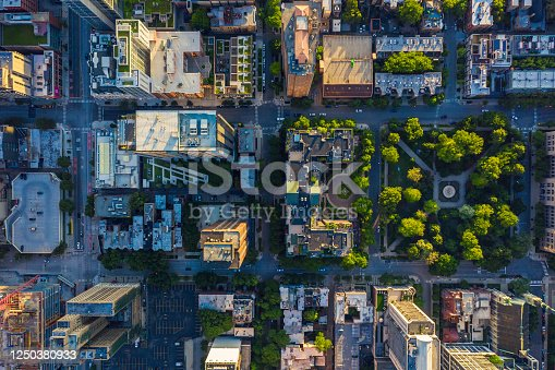 istock Top down aerial view of Chicago Downtown urban grid with park 1250380933