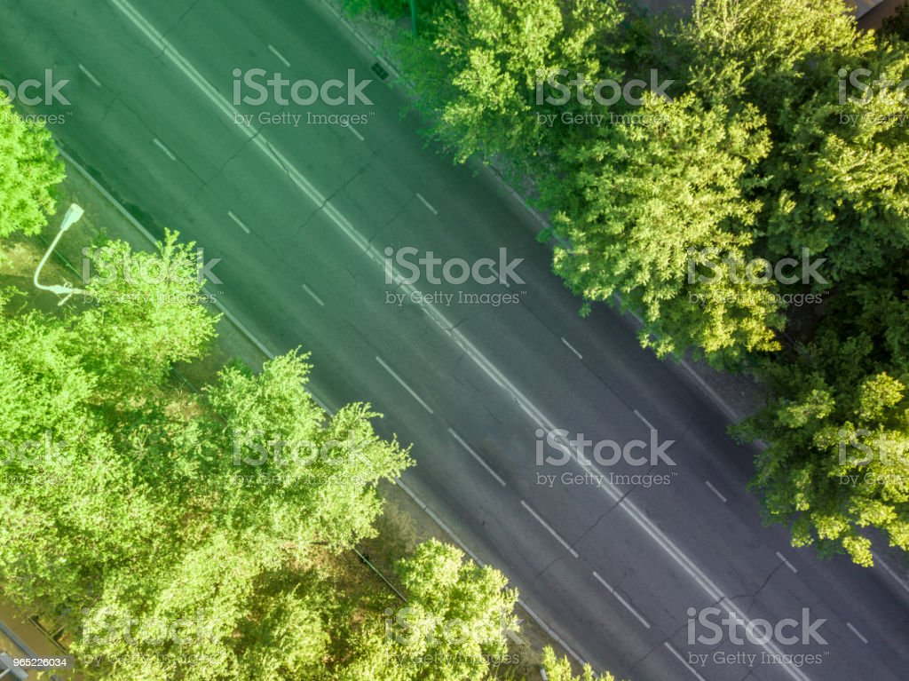 top down empty road in the city royalty-free stock photo
