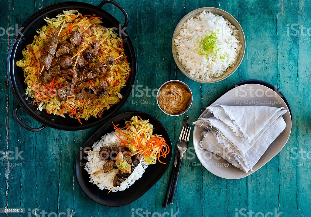 Top down food photography stock photo