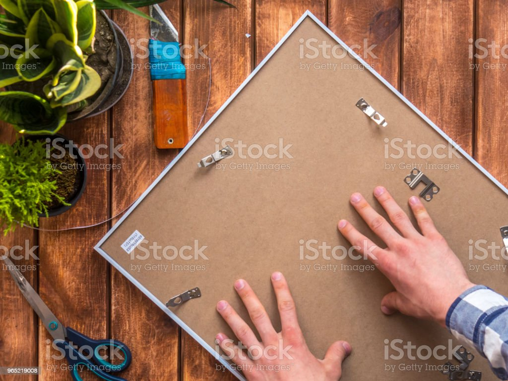 top down photo frame with hands on top royalty-free stock photo
