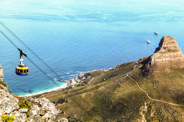 top down view from table mountain of a cable car and the lion's head on the right and atlantic ocean in the background - table mountain south africa stock pictures, royalty-free photos & images