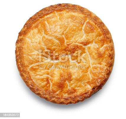 A top view of an apple pie on a white background.  The flaky, golden crust invites the viewer to reminisce.  There is a soft shadow created by soft directional light.