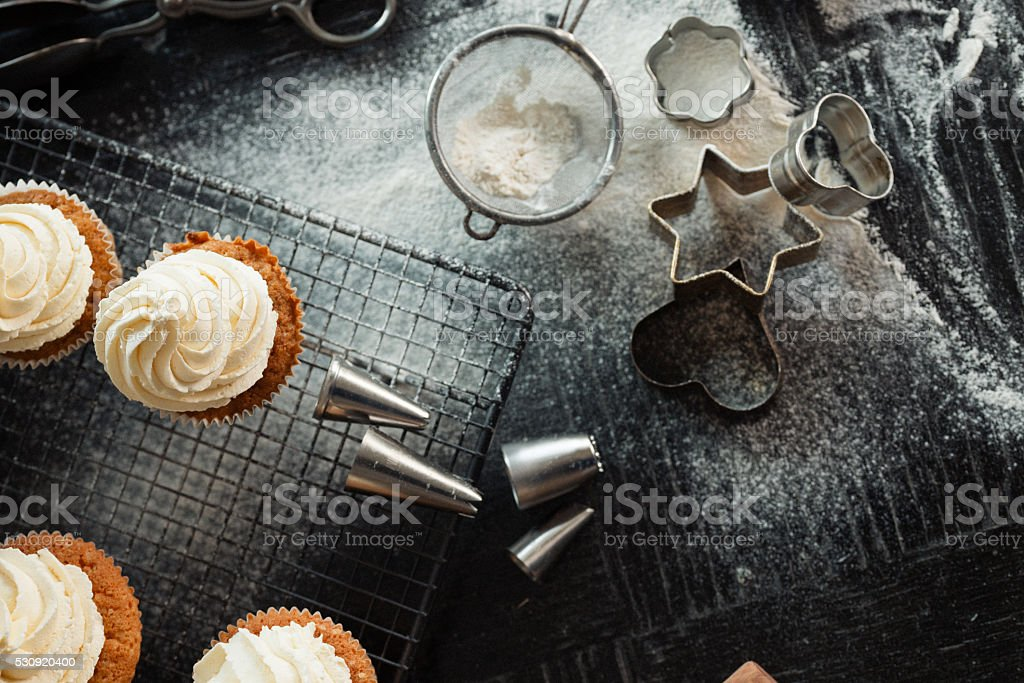 Top down view of artisanal baker's table. stock photo