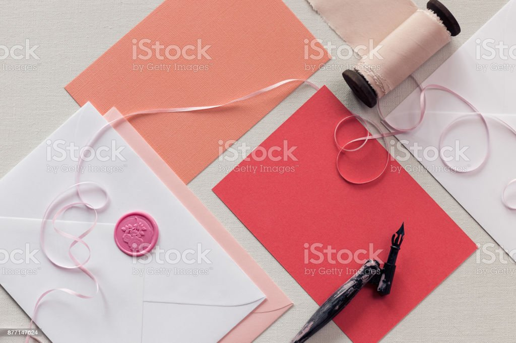 Top Down View Of Blank Pink Thank You Notes Or Wedding Invitation ...
