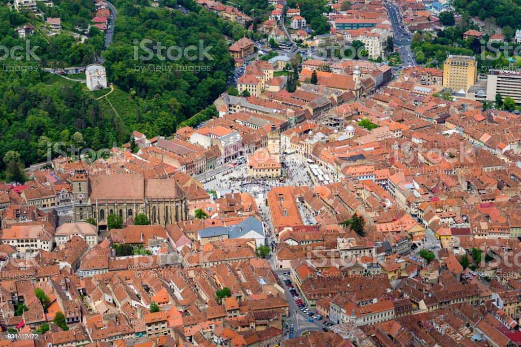 Top Down View of Brasov stock photo