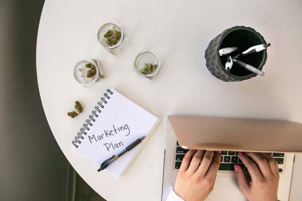 Top Down View of Cannabis Entrepreneur working on Marketing for Marijuana Business on White Table Work Space stock photo