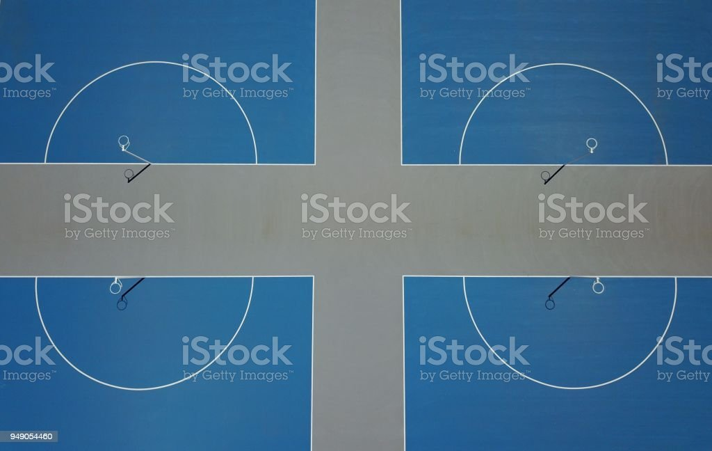 Top down view of netball courts stock photo