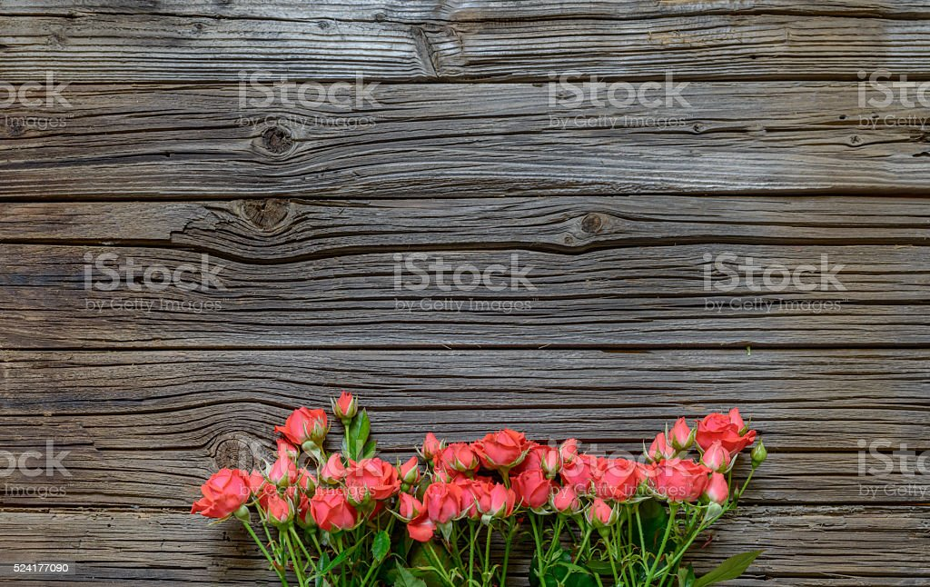 Top down view on rose bundle on wooden surface stock photo