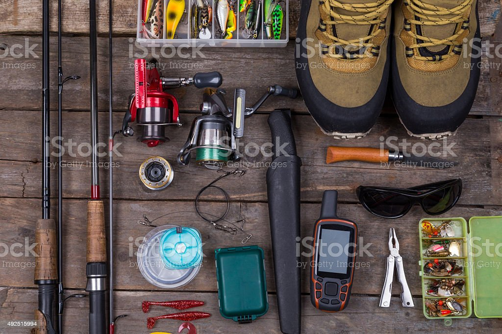 top fishing tackles and fishing gear stock photo