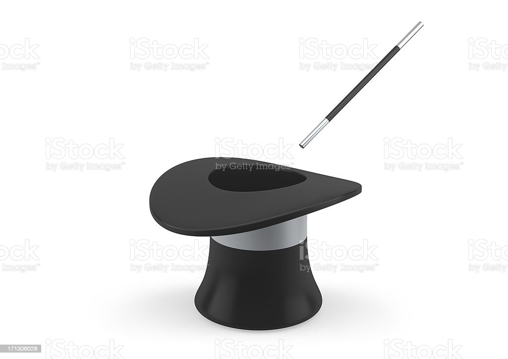 Top hat and a magic wand stock photo