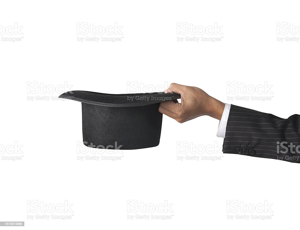 top hat with hand stock photo