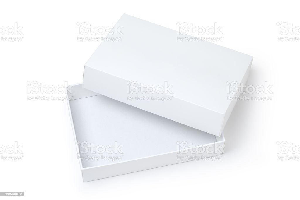 Top lid off exposing empty white gift box stock photo
