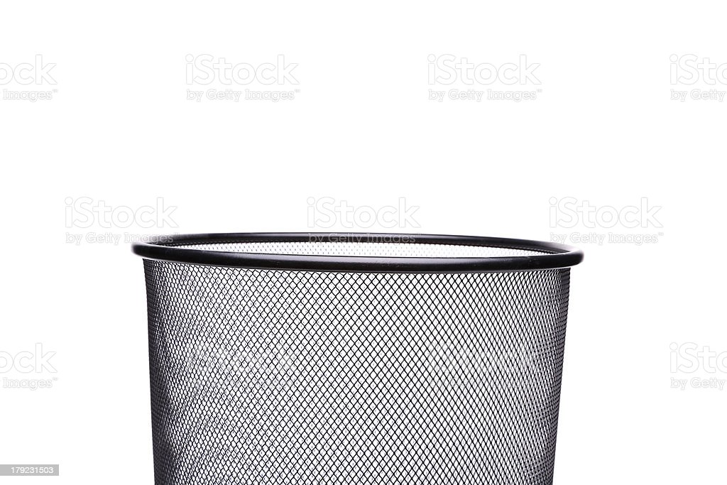 Top metal trash can isolated on white background royalty-free stock photo