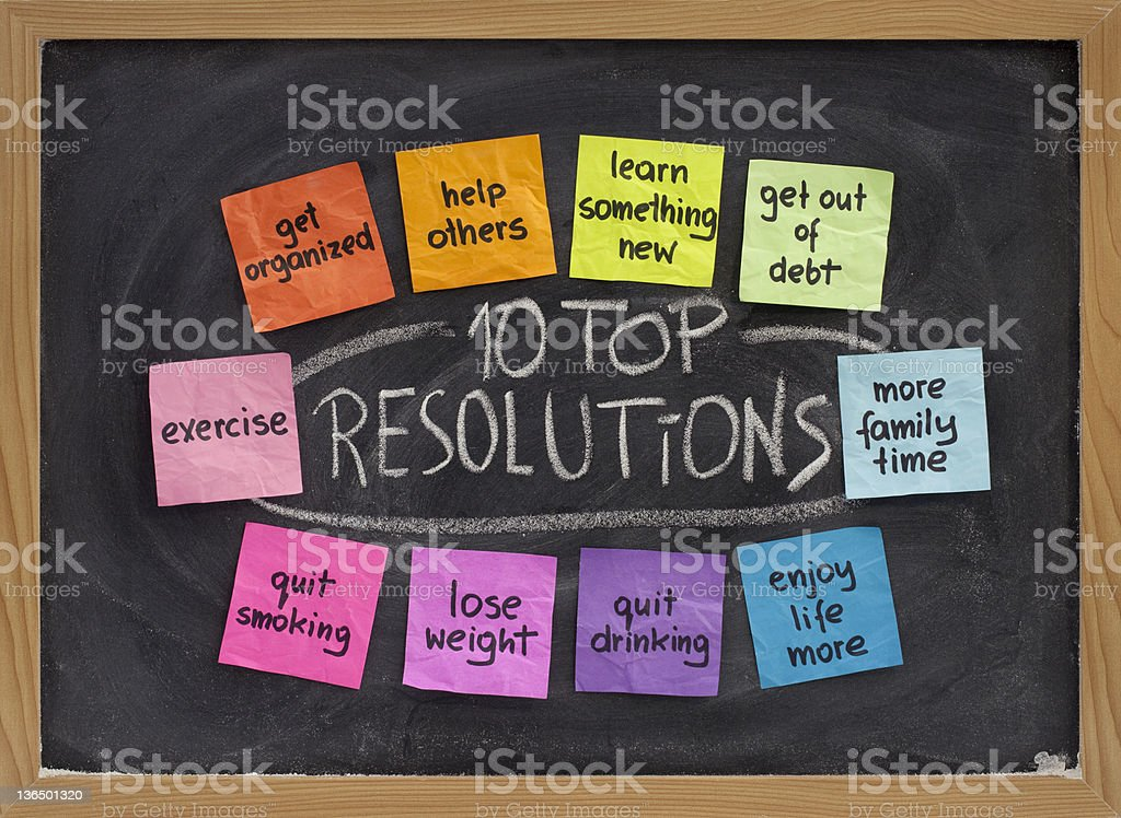 Top New Year resolutions stock photo