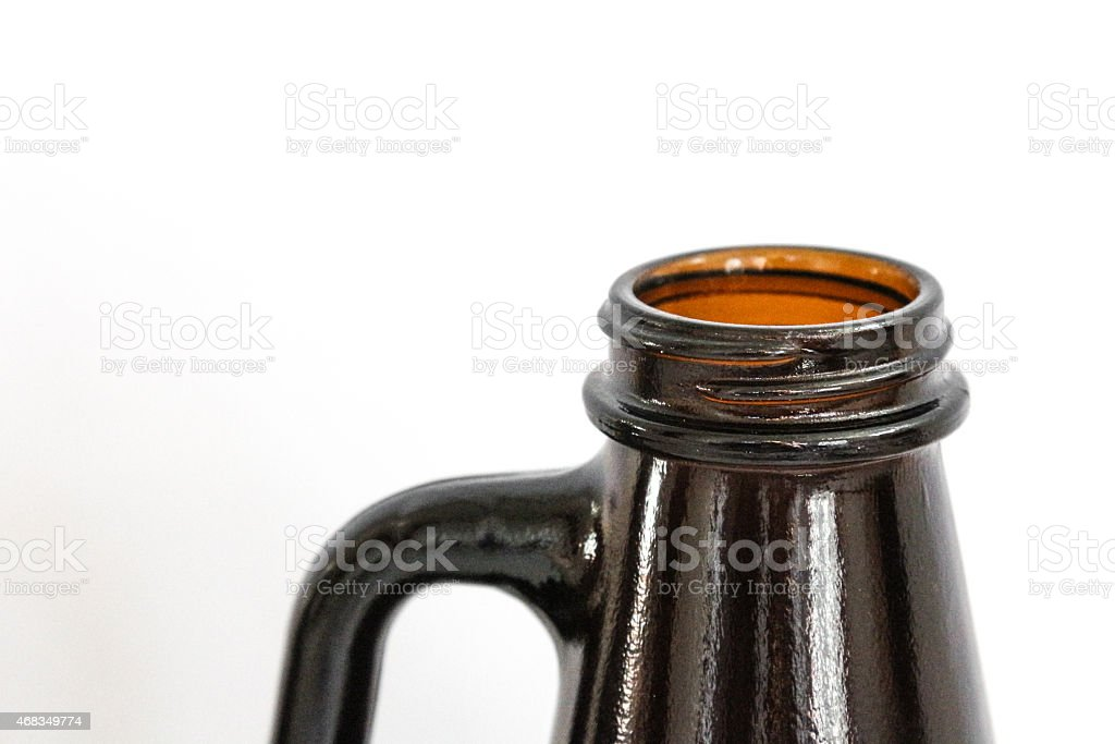Top of a brown beer growler isolated on white stock photo