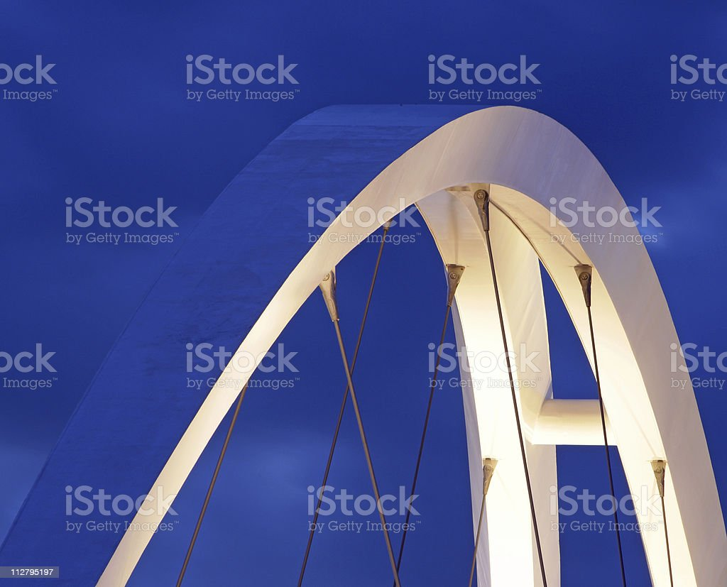 top of a new suspension bridge at night stock photo