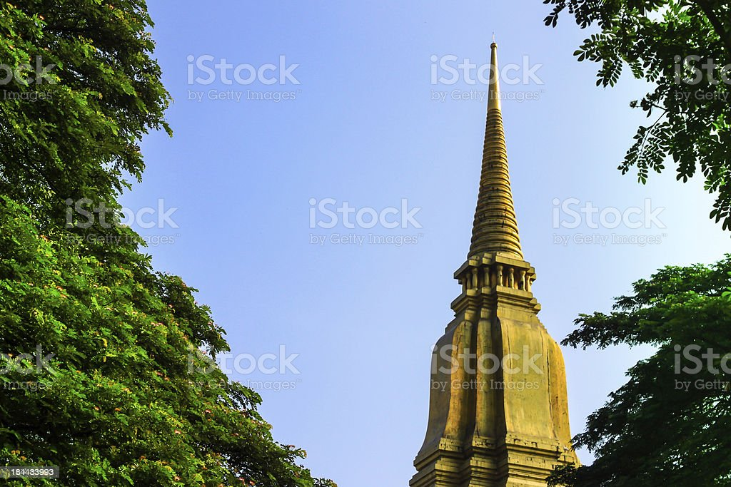 Top of ancient pagoda in ruined old temple at  Ayutthaya royalty-free stock photo